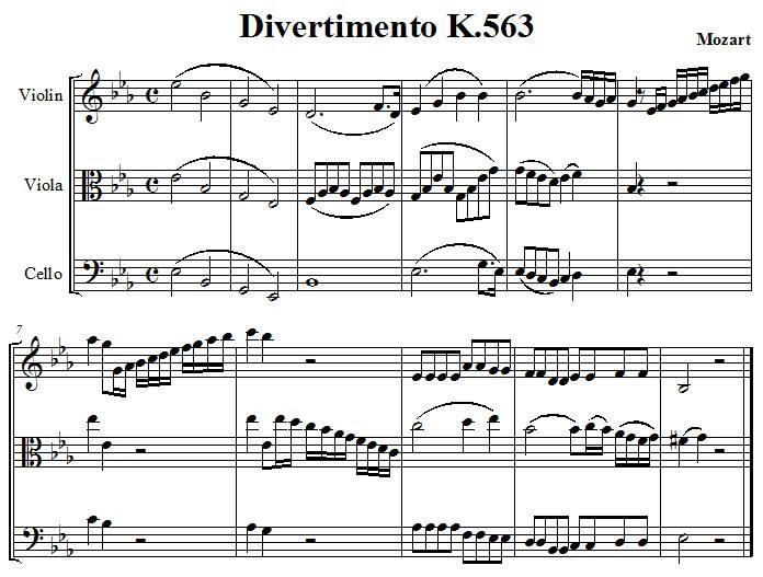 extrait du divertimento K563 de Mozart pour violon, violon alto et violoncelle