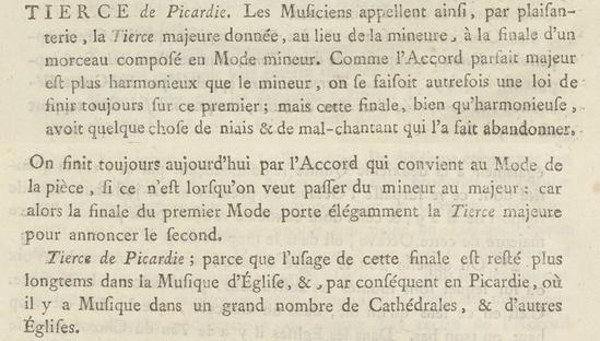 Définition de la tierce de Picardie par Jean Jacques Rousseau