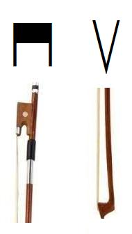 symboles tirer et pousser au violon