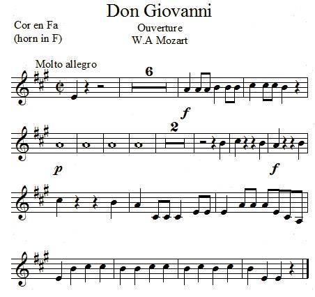 Don Giovanni de Mozart, transposé pour le cor en fa
