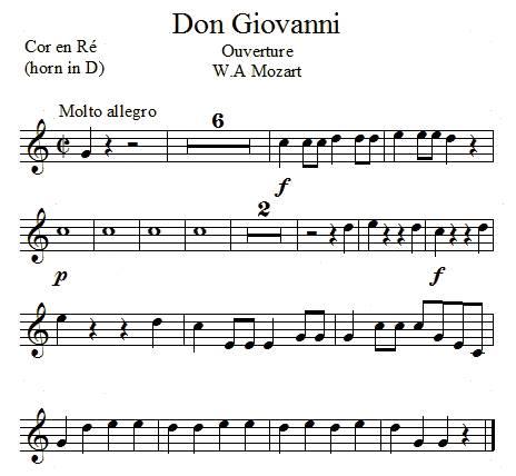 Don Giovanni de Mozart, cor en ré