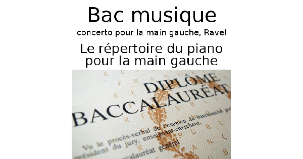 Le répertoire du piano pour la main gauche
