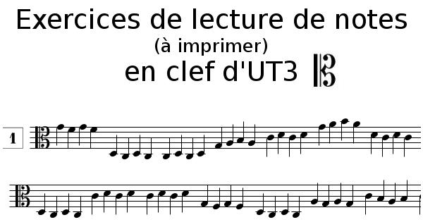 Lecture de notes en clef d'UT 3 à imprimer