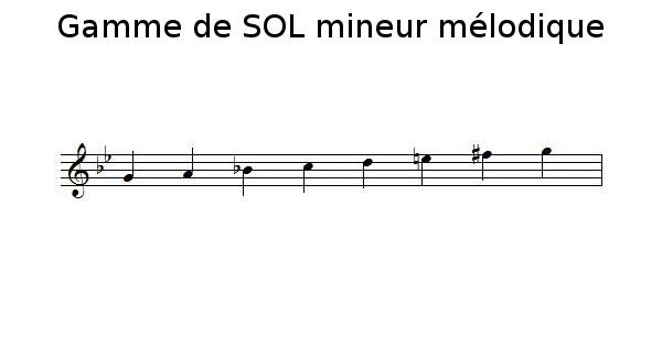 Gamme de SOL mineur mélodique