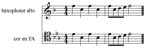 clef d'UT 4 pour transposer une partition de saxophone pour un corniste