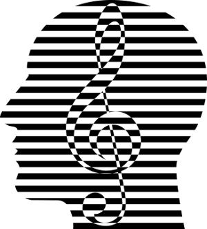 visage de profil zébré de noir et de blanc avec une clef de sol en surimpression